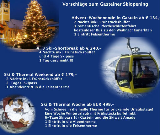 Adventpauschalen Residenz Gruber Bad Gastein