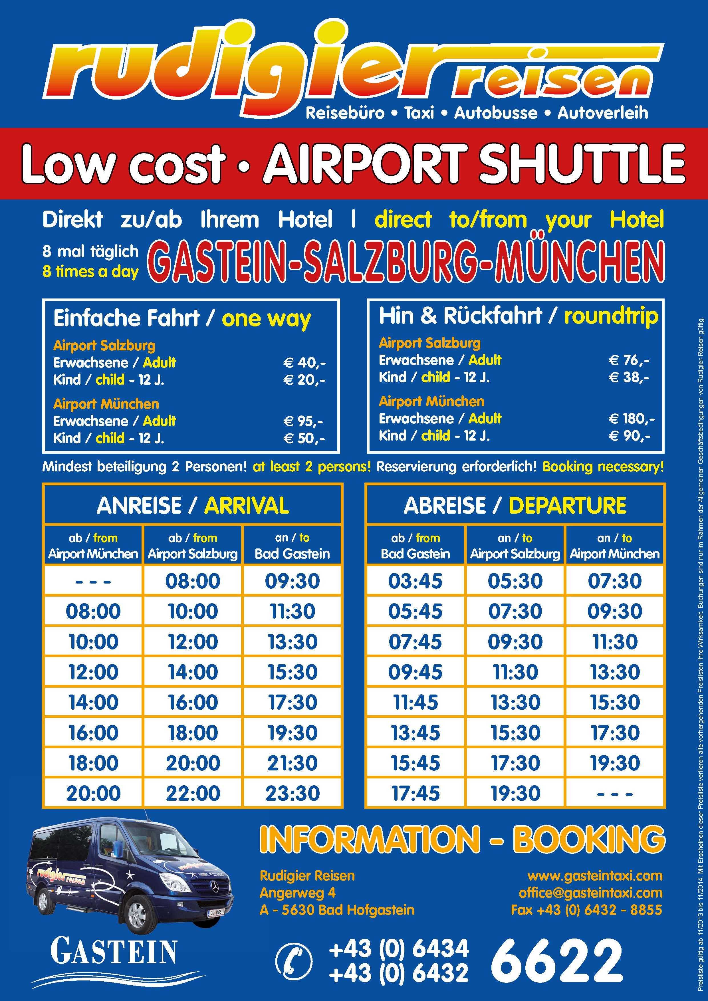 Fahrplan Airport Taxi nach Bad Gastein